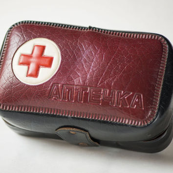 Russian First Aid kit box vintage, USSR medicine pouch brown First Aid bag, fun medicine chest, Pharmacy bag 70s shabby, red cross box