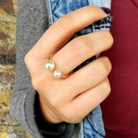 Gold Fill Double Pearl Ring, Gold Pearl Ring, Tiny Gold Ring, Midi Ring, Bridesmaid Gift, Round Pearl, Adjustable Ring, Midi Ring