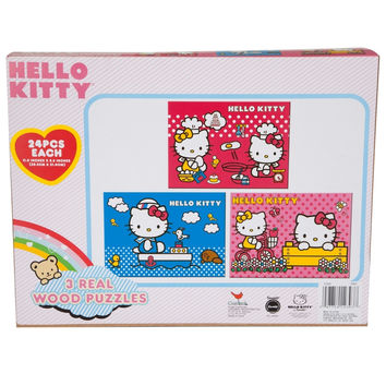 Hello Kitty - Three Pack 24-Piece Puzzles With Storage Case