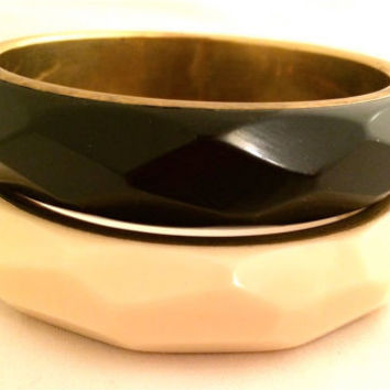 SET of 2 Bracelets BANGLE Black and Cream Butter Beveled Plastic Brass Bronze