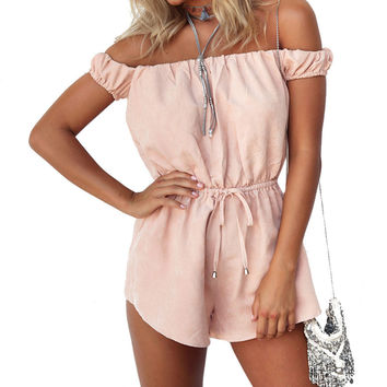 Summer Beach Off Shoulder Sexy Rompers Womens Jumpsuit Elegant Pink Bodysuit Fashion Playsuits Shorts Overalls plus size 2017