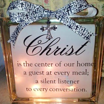 Religion, Religious Lighted Glass Block and Home Glass Decor and Gifts