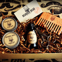 Beard Grooming Kit - Oil, Wax, Balm, Wood comb, Scissors - All Included!!!