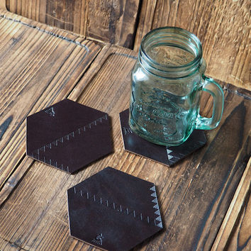 Set of 3 Leather Coaster #Dark Brown