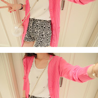 Solid color pocket knit cardigan long section