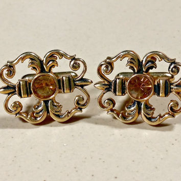 Accessories Mens Cufflinks Antiqued Gold Metal Yellow Topaz Rhinestone Jewel Embellished Cufflinks Swank Classy Dress Casual Great Design