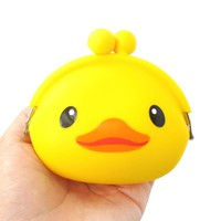 Yellow Rubber Ducky Duck Shaped Mimi Pochi Animal Friends Silicone Clasp Coin Purse Pouch