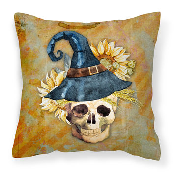 Day of the Dead Witch Skull  Fabric Decorative Pillow BB5126PW1818