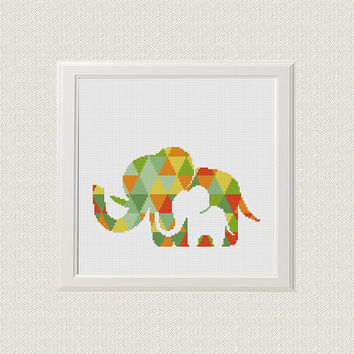 Geometric elephant Cross Stitch pattern modern, elephant Pattern, jungle Animals, Cross Stitch baby PDF