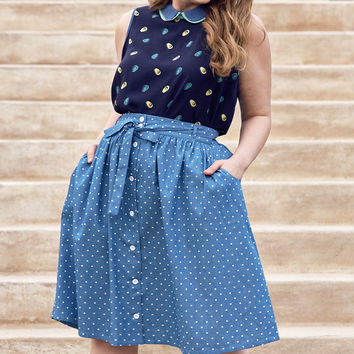 Park Bench Artistry A-Line Skirt with Pockets