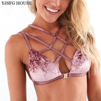 YJSFG HOUSE Women Bralette Crop Tops Bras Sexy Velvet Hollow Out Backless Lace Up Bralette Pink Blue Red Female Lingerie Bra