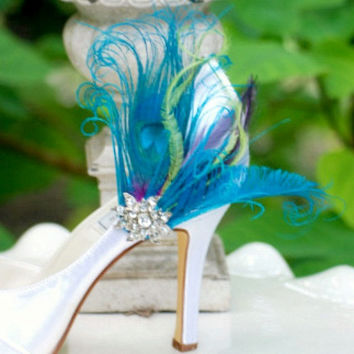 Shoe Clips Turquoise Peacock  Sword Feather & Rhinestone Crystal. Summer Bride Bridal Bridesmaid Couture, Statement Stunning Sexy Gift Idea