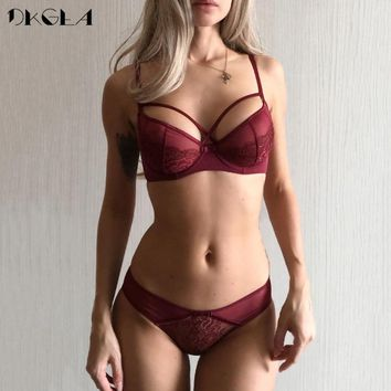 2019 Ultra-thin Brassiere Purple Embroider Lingerie Set Women Bras Lace Underwear Set Transparent Sexy Bra Panties set B C D Cup