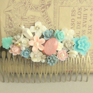 Wedding Hair Comb Bridesmaid Mint Green Sea Foam Turquoise Light Blue Baby Pink Blush Powder Bridal Hair Accessories
