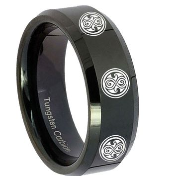 8MM Multiple Doctor Who Shiny Black Bevel Edges Tungsten Carbide Laser Engraved Ring