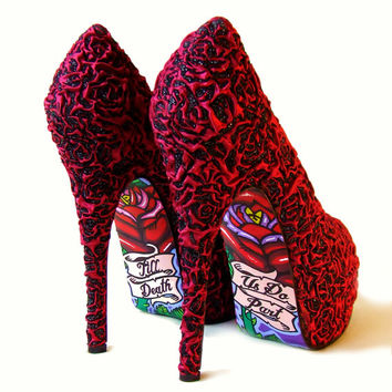 Tattoo Pinup Burlesque Gothic Wedding Bridal Shoe - Red Baby Blue Satin Rose - Hand Painted Old School Tattoo Design High Heels
