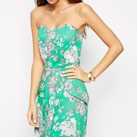 Love Structured Bandeau Skater with Peplum in Floral Print