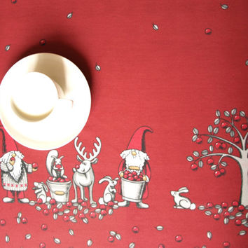 Christmas tablecloth red white Elfs Tomte Rain Deers Scandinavian Design , napkins , table runner , curtains , pillows available, great GIFT