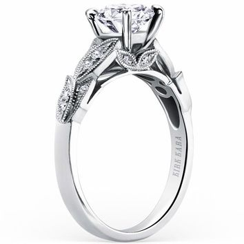 "Kirk Kara ""Dahlia"" Leaf Diamond Engagement Ring"