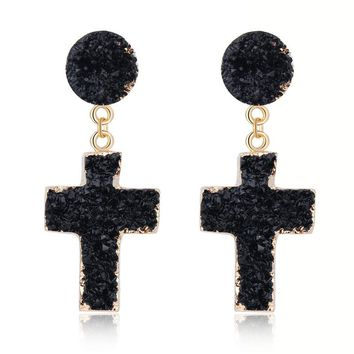 Resin Druzy Cross Earrings (black or pink)