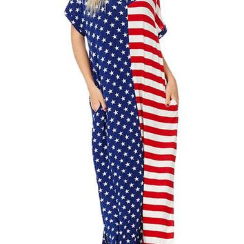 The Stars and Stripes Split Pocket Casual Maxi Dress