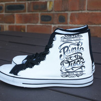 Panic at the disco hand painted canvas high tops, made to order.
