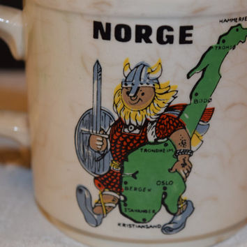 Norge Viking Coffee Cup Vintage Norway Souvenir Cup Mug Scandinavian Cup Norway Gift Mug Norway Country Motif Cup Viking Collectible