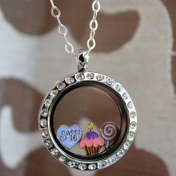 Floating Silver Glass Living Locket with Charms and Birthstones Owl for Sweet 16, Quincinera