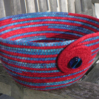 Handmade Red and Blue Fabric Bowl, Coiled Fabric, Basket