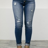 5-Button Distressed Skinny Denim