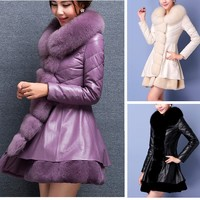 Luxurious Plus Imitation Sheep Leather Pu & Fox Faux Fur Collar Overcoat Winter Women Coat