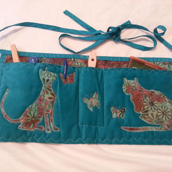 Cat Training Apron -- Gardening or Horse or Dog Training Apron - Appliqued Cats and Butterflies