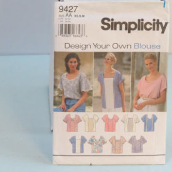 Vintage Simplicity sewing pattern 9427 women's pull over top size xs s m small medium x-small