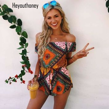 Heyouthoney Boho Plaid Print Rompers Ladies Off The Shoulder Jumpsuit Short for Women Playsuits African Beach Bodysuit Overalls