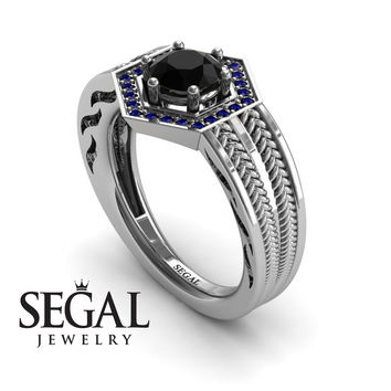 Unique Engagement Ring 14K White Gold Vintage Art Deco Edwardian Ring Filigree Ring Black Diamond With Sapphire - Peyton