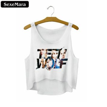 "SexeMara Summer ""Teen Wolf"" Letter Crop Top Harajuku Sexy Fitness Women Loose Cropped Fashion Mujer Popular Tank Tops F728"