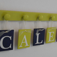 Lime Green / Navy, Personalized Name Blocks, Room Decor, Baby Bedroom Decor Blocks, Custom Name Ribbon Block Letters CALEB - 5 Wooden Pegs