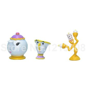 Collection Beauty Beast Princess Belle - Teapot Cup Candle Holders Toy Mrs Potts Toys Mini Anime Action Figure Cosplay Doll Kids