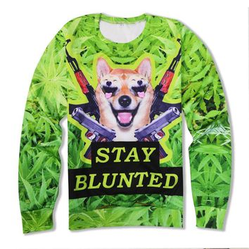 Alisister New Arrival Doge Graphic Sweatshirts 3d Weed Gun Printed Hoodies Men Women Crewneck Long Sleeve Pullovers Clothing