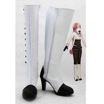 RWBY Neo Boots Adult Women's Knee High Heels Button Zip Casual White Long Boots Custom Made