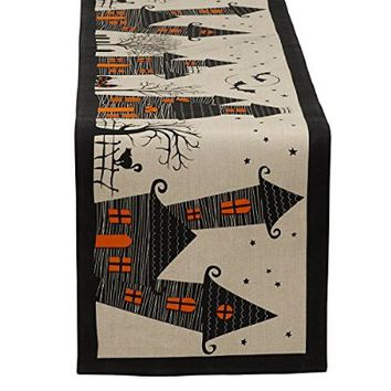 "DII Halloween Table Runner 14 x 72"", Haunted House"