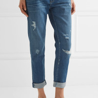 Current/Elliott - The Fling distressed mid-rise slim boyfriend jeans