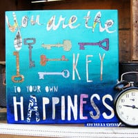 Blue Hues and Keys Happiness Quote Mixed by inknpaintboutique