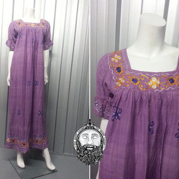 Vintage 70s Deadstock INDIAN COTTON Dress Purple Kaftan Hippy Clothes Square Neck Boho Chic Embroidered Sleeves  Made in India 1970s Fashion