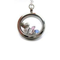 Floating Charm Locket Necklace, Memory Locket, Floating Charm Necklace, Memory Locket Necklace, Mom Necklace, Floating Locket, Family Charm