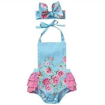 Newborn Infant Baby Girls Romper Floral Romper Lace Belt Backless +Headband Outfits Sun suit