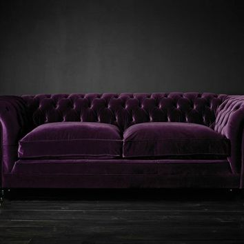 Chesterfield upholstered velvet sofa Samual Johnson Collection by Fleming & Howland