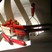 Vintage  Kitchen Tools - Red Farmhouse Style Kitchen Decor- Americana -Domestic Industrial