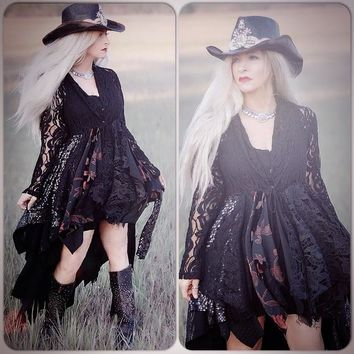 Medium Spell Stevie Nicks black kimono, gypsy high low duster kimono, crochet lace kimono, True Rebel Clothing