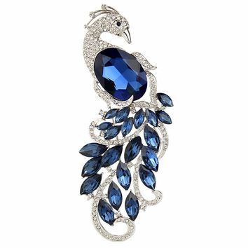 BELLA Fashion Elegant Blue Peacock Peafowl Brooch Austrian Crystal Rhinestone Animal Brooch Pin Women Accessories Party Jewelry